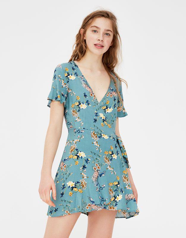 En Crème Vestido floral de manga corta con volantes y tiras cruzadas de En Creme GZ3SYQmYEm