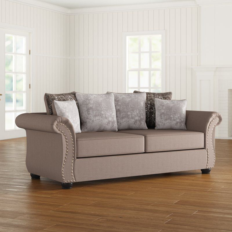 """Cool Living Room Furniture: Agnes Microsuede 90"""" Rolled Arm Sofa"""