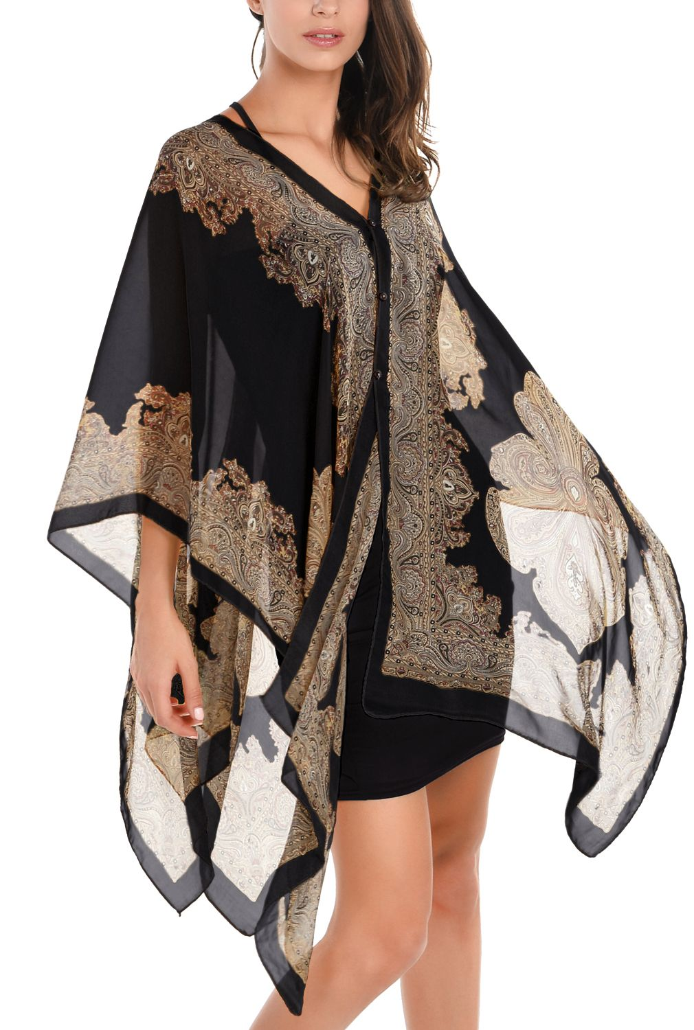 2e52187cbe8 Womens-Sexy-Shawl-Bikini-Cover-Up-Swimwear-Beach-Dress-Chiffon-Poncho-Top -Kaftan