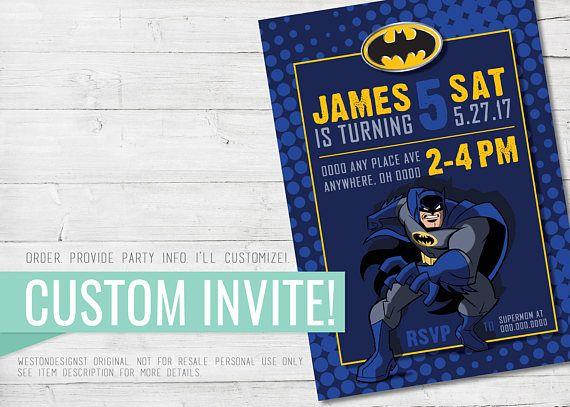 Custom Batman Birthday Invitation Party Printable Digital Download 513246774