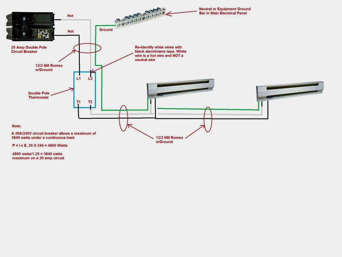 Wiring Diagram For 220 Volt Baseboard Heater Electric