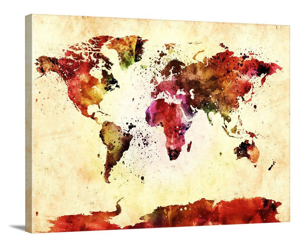 Yellow Watercolor World Map Canvas Print - Great Design Wall Art ...