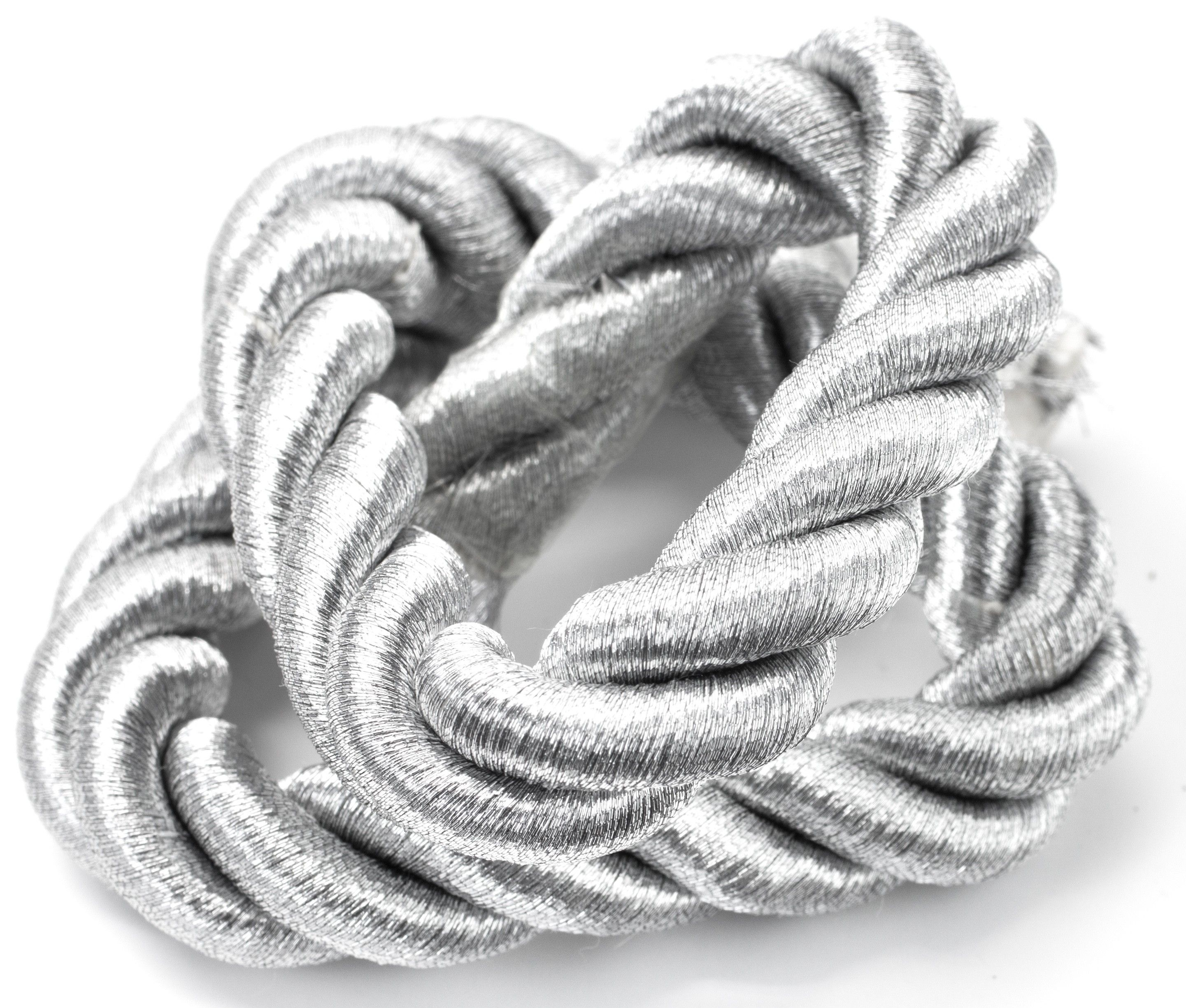 Nylon Silver Rope, 15in/38cm - This chunky nylon rope is fantastic for adding a bold feature to nautical themed bracelets and sailor's knot designs. Nylon rope is also great for a range of craft projects and adding special details to home decor. [$4.99]