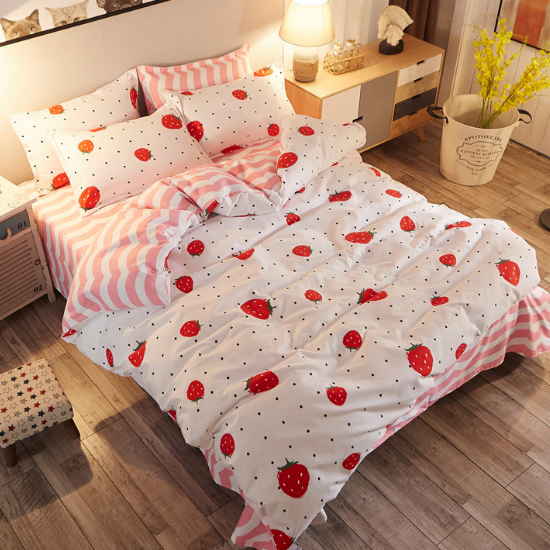 Kawaii Strawberry Students Bed Sheet Set 4 Pieces SE9946