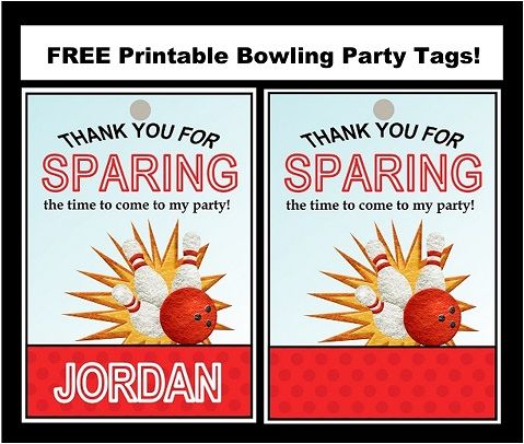 Free Bowling Party Printable Tags Bowling party, Printable tags
