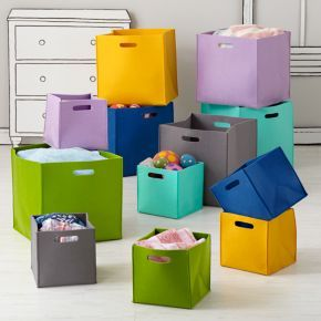 The Land Of Nod Kids Storage Colorful Felt Cube Bins In 10 25