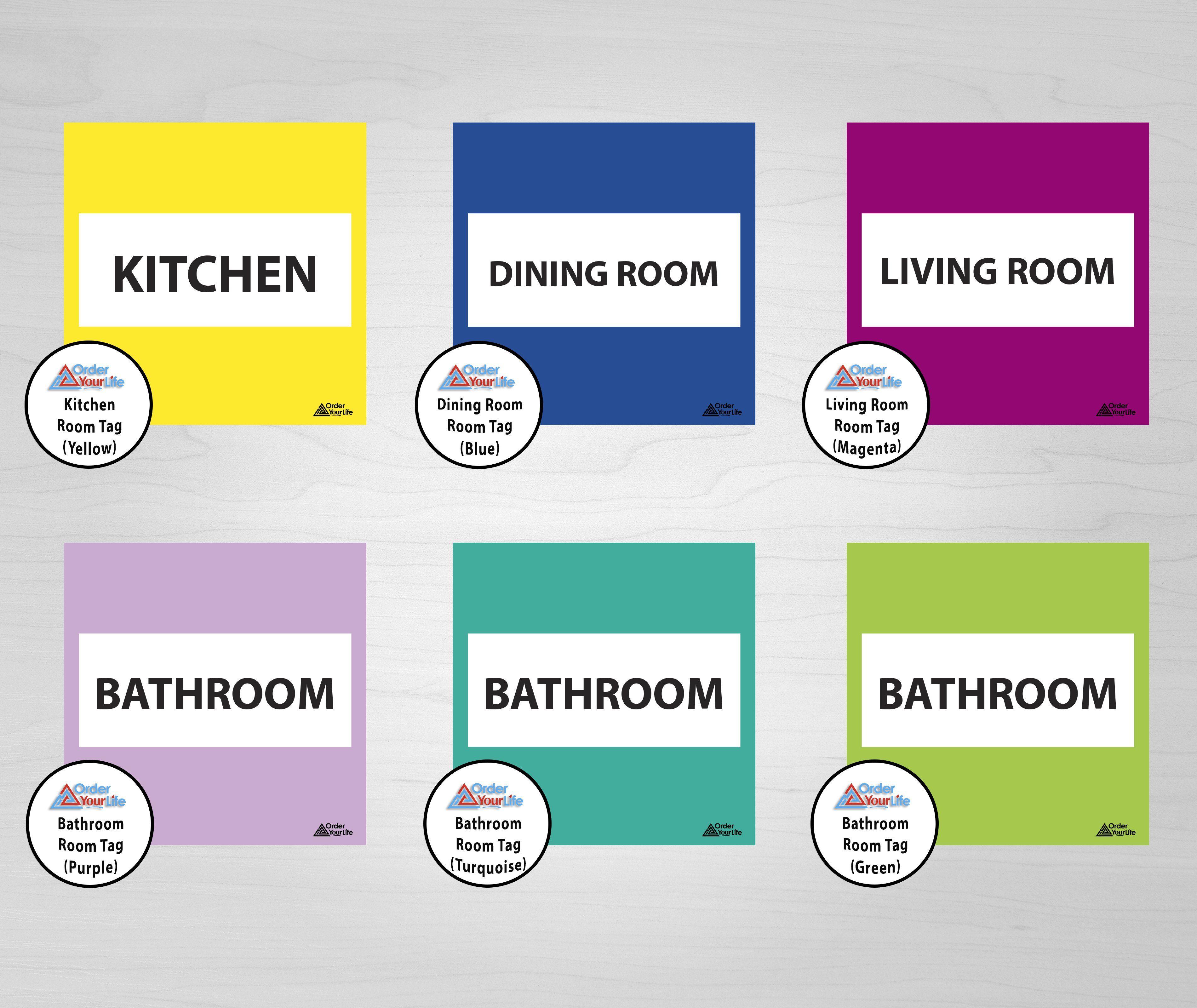 Room Tags - Print & Ship / Bathroom Room Tag (Green)