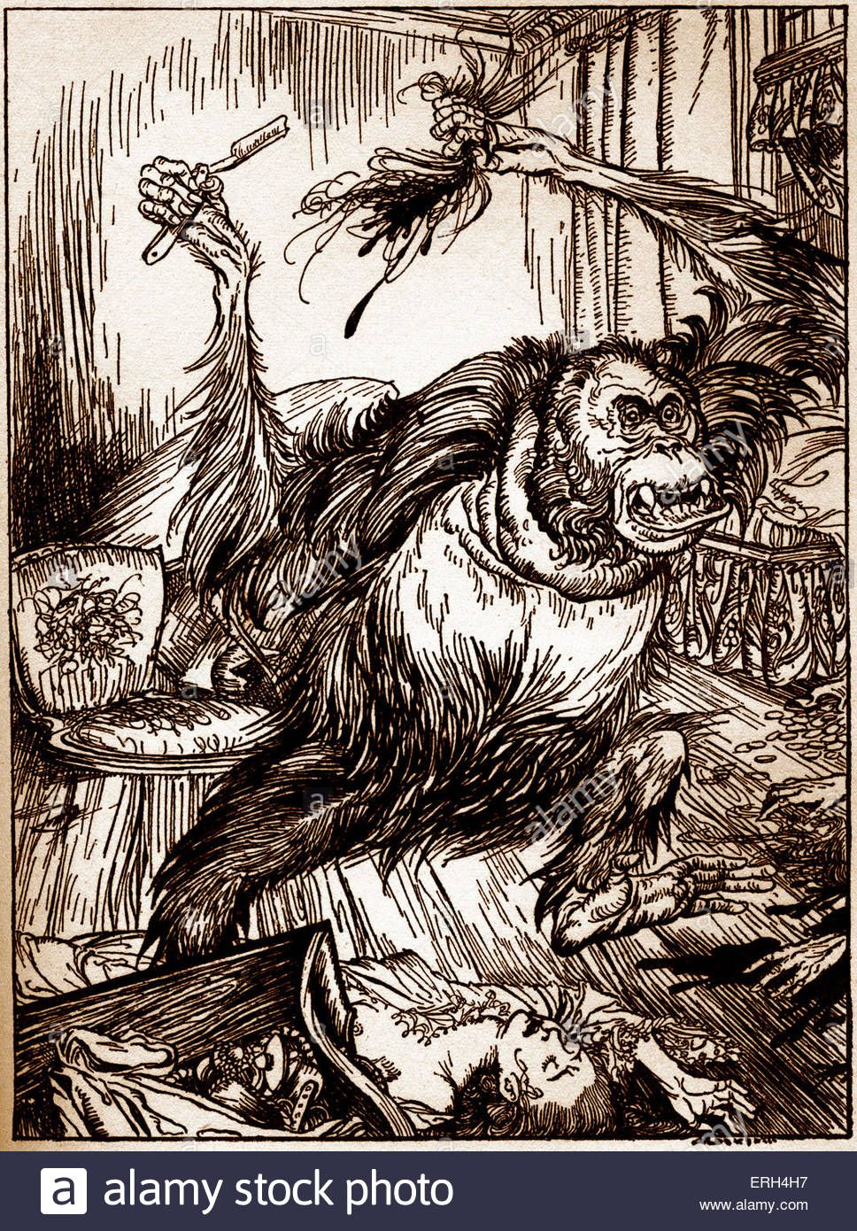 Murder in the Rue Morgue' by Edgar Allan Poe. Illustration by ...