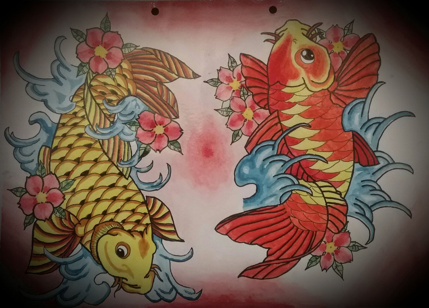 Two Colourful Koi Fish Tattoo Flash,Design, Print, Oriental, Cherry ...