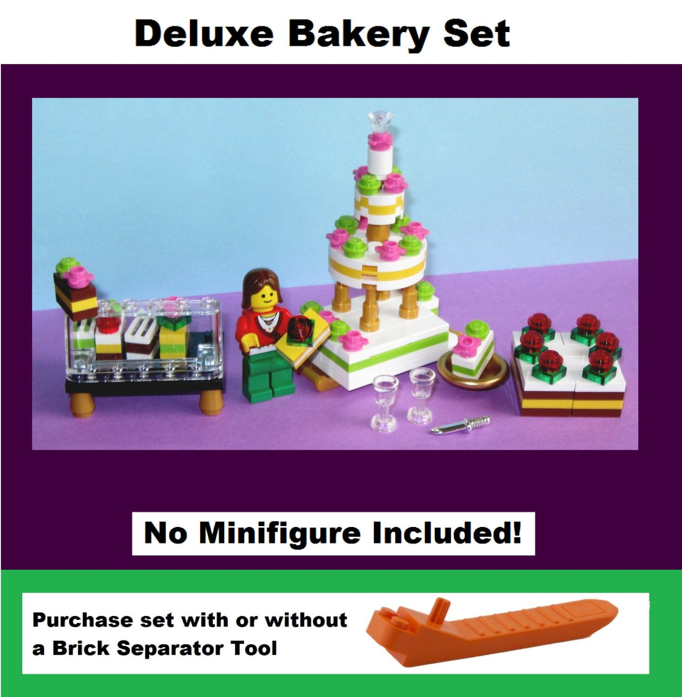 Lego Custom Cake Bakery Set Wedding Cake + Pastry Counter