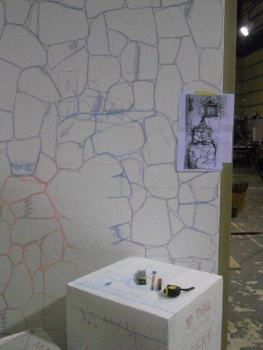 Dibujo de piedra muro en porexpan
