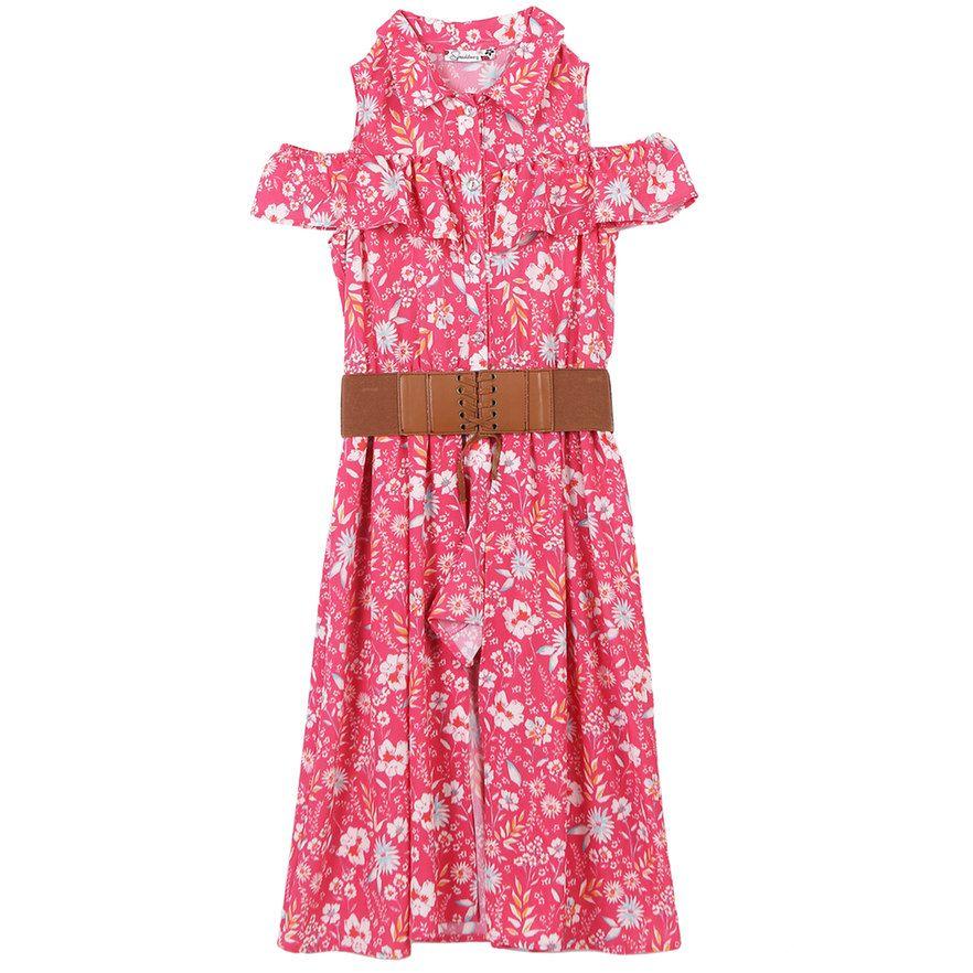 e475d4d7103 Girls 7-16 Speechless Floral Print Cold Shoulder Belted Walkthrough Dress