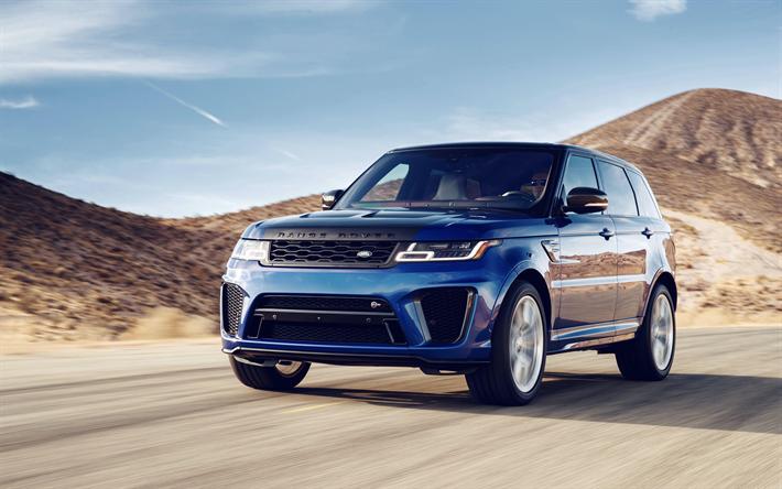 Download Wallpapers 4k Range Rover Sport Svr Suvs 2018 Cars Road Land Rover Range Rover Besthqwallpapers Com In 2020 Range Rover Range Rover Sport Land Rover