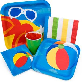 Plates Napkins Cups Beach Ball Party Luau Party Games Beach