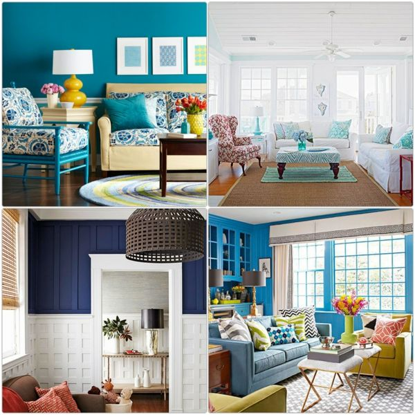 Farbgestaltung Wohnzimmer Wandfarben Blau Blautöne | Living