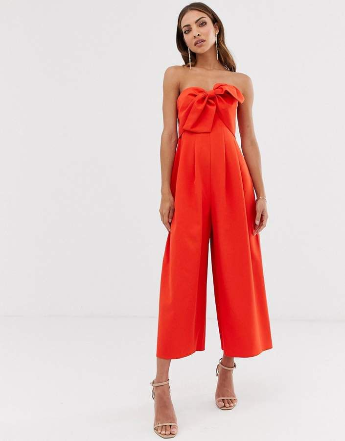 1aeef806268f DESIGN bandeau culotte jumpsuit with big bow detail   Just Jumpsuits ...