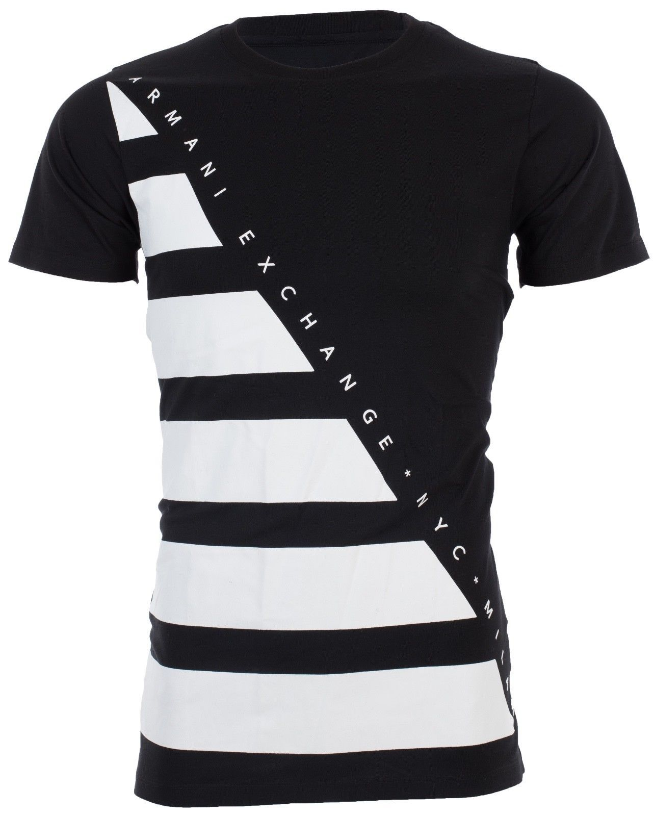 48389556fb0226 Armani Exchange Men T-Shirt Diagonal Stripe Premium Black White Designer  $45 Nwt