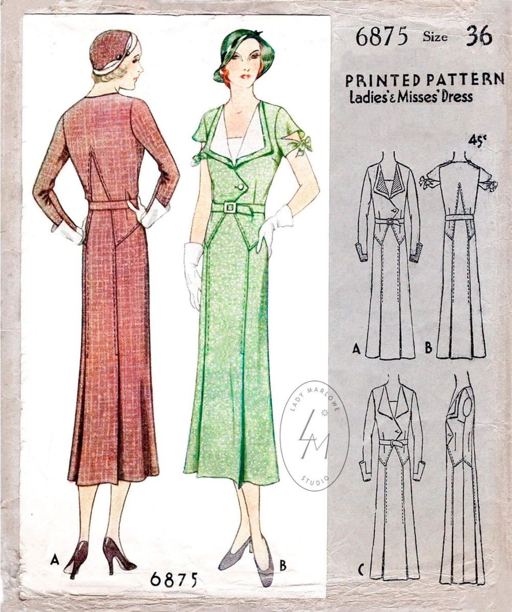 Vintage Sewing Pattern 1930s 30s Suit Dress Reproduction Etsy Vintage Sewing Patterns 1930 Fashion Vintage Sewing