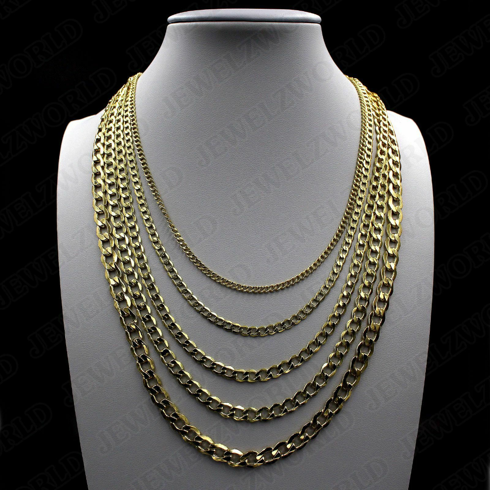 10k Solid Yellow Gold 2mm 8mm Cuban Link Chain Pendant Necklace Bracelet 7 30 Ebay Cuban Link Chain Necklaces 10k Gold Chain Gold Chain Necklace
