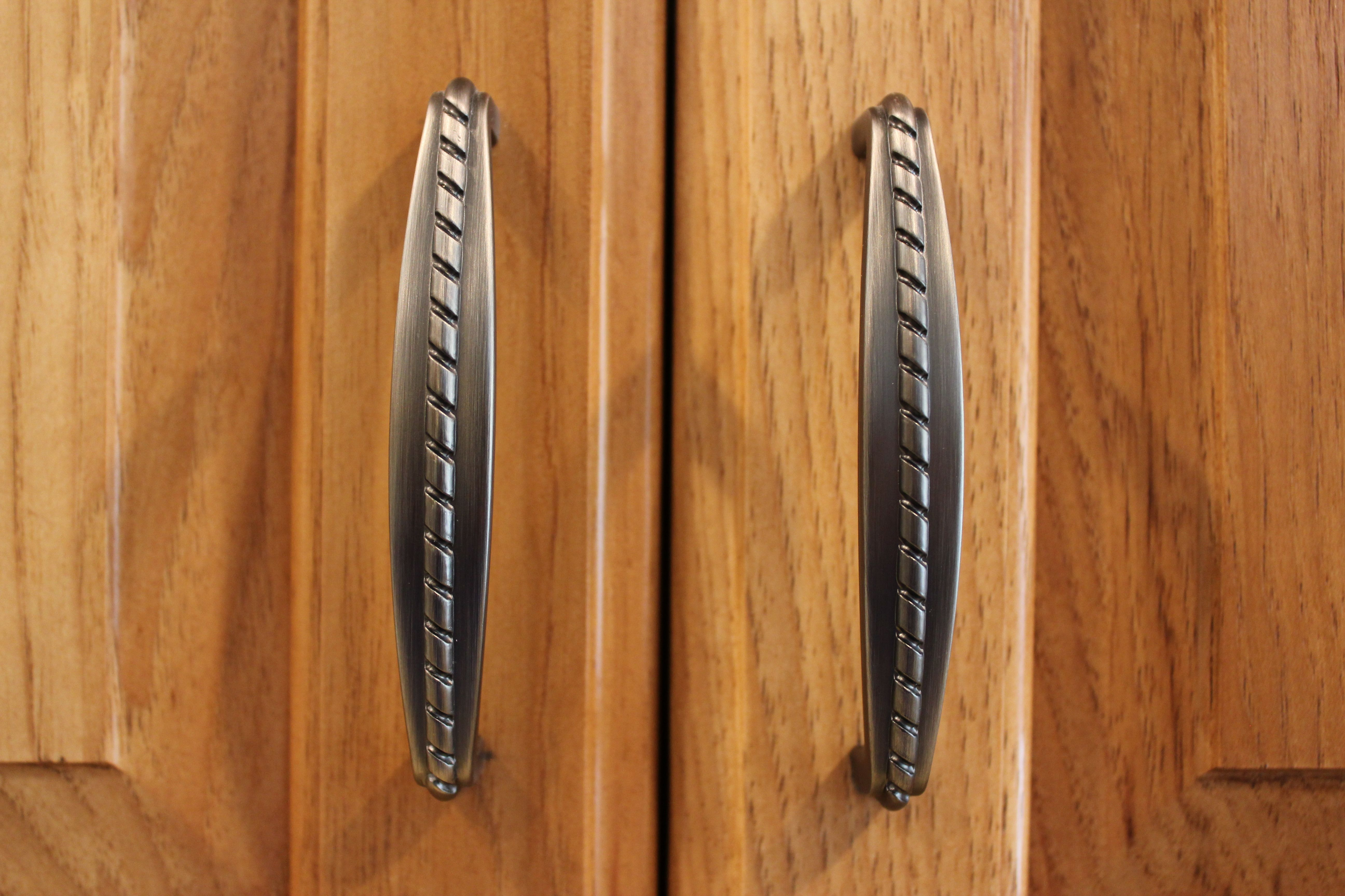 Brushed Nickel Handles On Hickory Wood Cabinets With A Fruitwood Finish Traditional Cabinets Hardware Hickory Cabinets