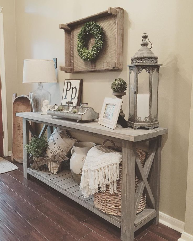 Living Room Decor Rustic Farmhouse Style Grey Wood X Brace Console Table With Baskets Lantern Styling Homedecormomma