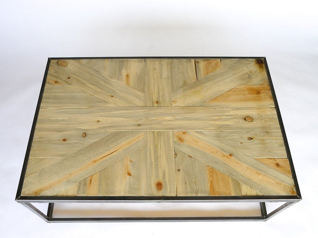 beetle kill pine union jack coffee table with an industrial metal