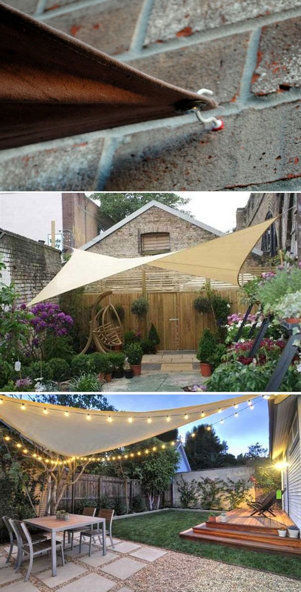 A SHADE SAIL CANOPY easily provides cool patio space with a beautiful look. To build it, just need three points up to four to secure the shade. Cup hooks and S hooks are also easy to get.