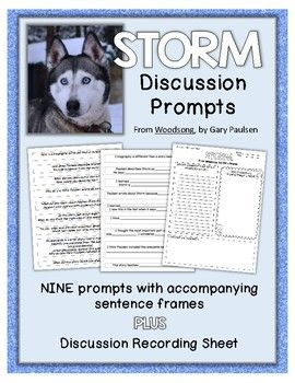 """Use these discussion prompts with the excerpt """"Storm"""" by Gary Paulsen in you book club, reading groups, or literature circles. Each of the nine prompts is accompanied by a sentence frame to encourage academic conversation in the groups. Instructions are provided for set up and discussion protocol."""