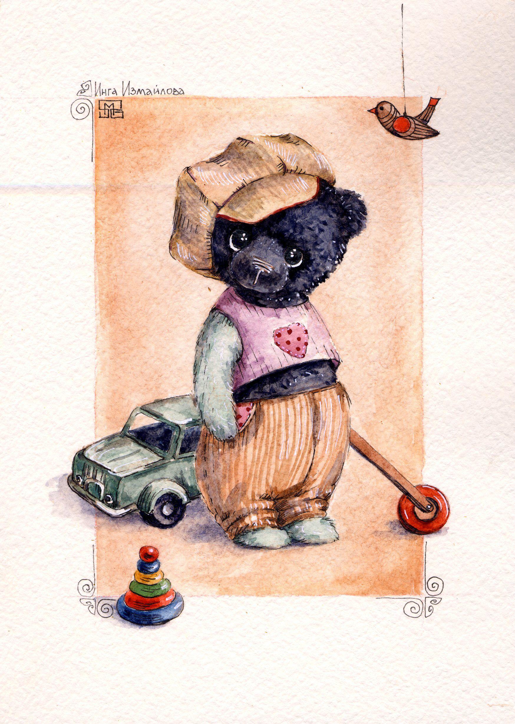 стекла медвежонок открытка ретро хоть