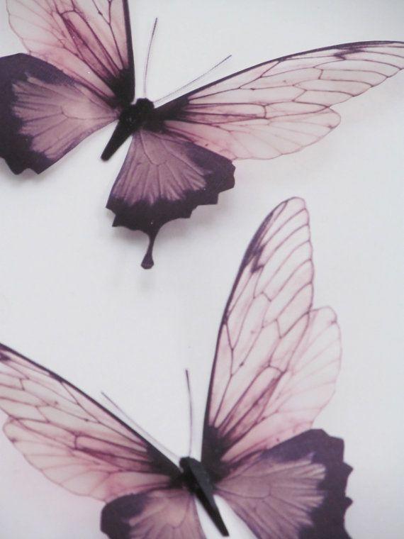 3 Luxus erstaunliche Flug Schmetterlinge 3D Schmetterling Wand Kunst ...