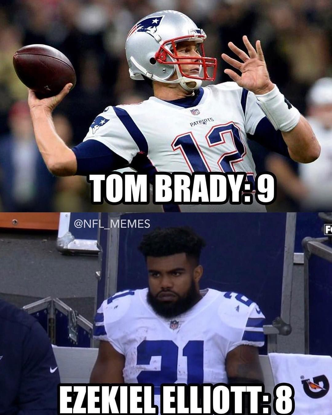 Tom Brady Had More Rushing Yards Than Zeke Today Nfl Memes Twitter Nfl Memes Tom Brady Ezekiel Elliott