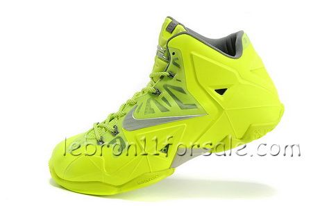Fashion Fluorescence Green Silver Nike LeBron 11 For Wholesale