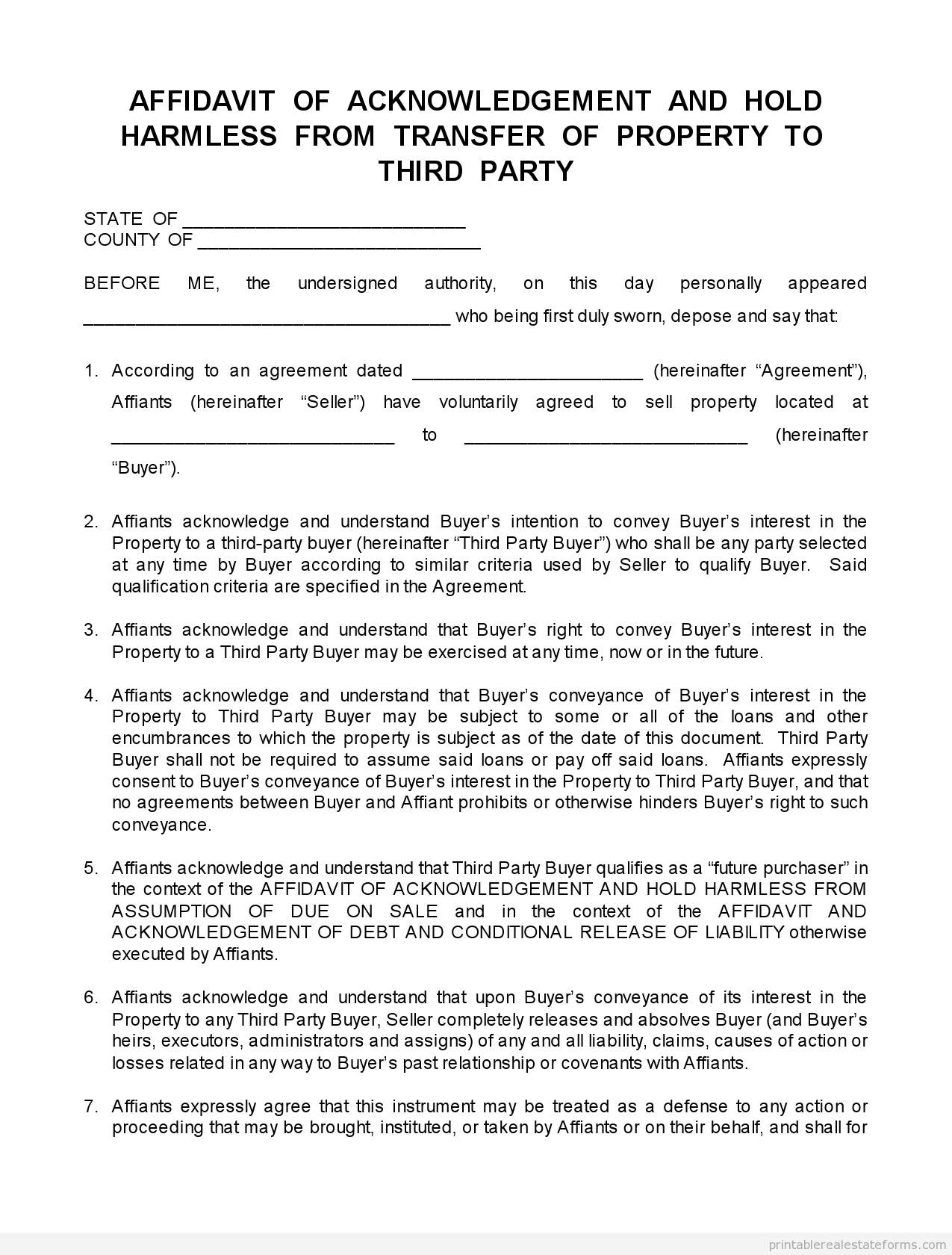 Printable Disclosure Transfer To Third Party  Template