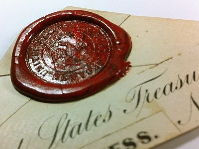 Wax Seal From United States Treasury Of New York Wax Seals Letter Writing Wax