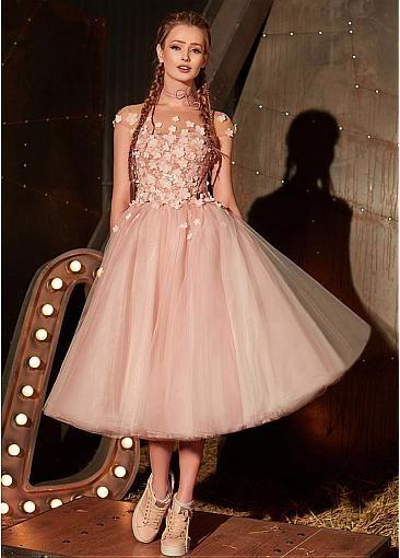 f3c3919efa38c5 Chic Tulle Jewel Neckline Cap Sleeves Tea-length A-line Prom Dress With  Handmade