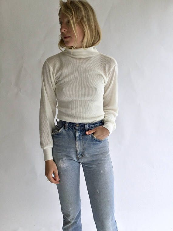 06c5bd5e9b Vintage White Waffle knit Mock Turtleneck | 70s 80s white thermal |  Waffleknit Cotton blend military henley | Mockneck | Rawson Spring Summer  2018 | Turtle ...