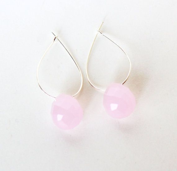 Minimalist silver and pale pink faceted stone drop by ardorfire