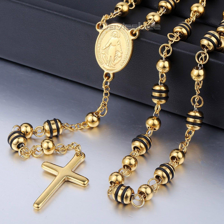 Jesus Cross Women//Men Pendant Chain 18k Gold//Silver Filled Long Rosary Necklace