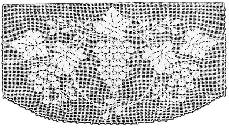 Grapes Lace Scarf End Filet Crochet