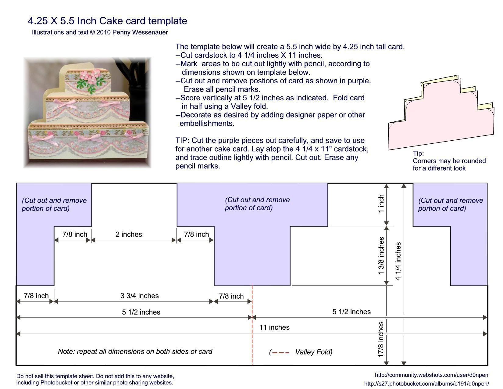 """The astonishing Cake Card Template Size A2 (4.25"""" X 5.5"""