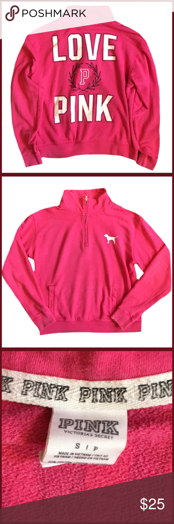 """☀️SALE☀️  VS Pink Long Sleeve Top ◾️Gently used VS Pink long sleeve half zip top                                                            ◾️Pink                                                                                                                         ◾️Measures 23"""" in length                                                                                                 ◾️Size small                                                                 ◾️Bundle and Save PINK…"""