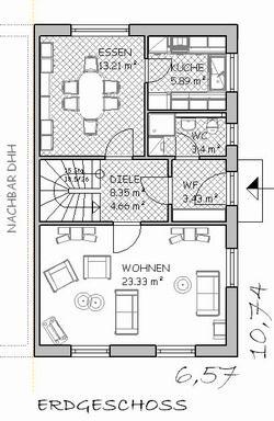 Doppelhaus grundriss eingang seitlich architektur for Haus bauen plan
