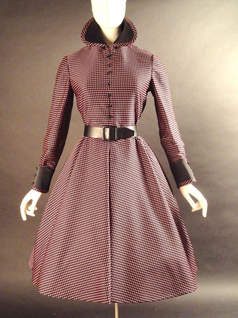 GEOFFREY BEENE-1960s Black & Pink Silk Dress