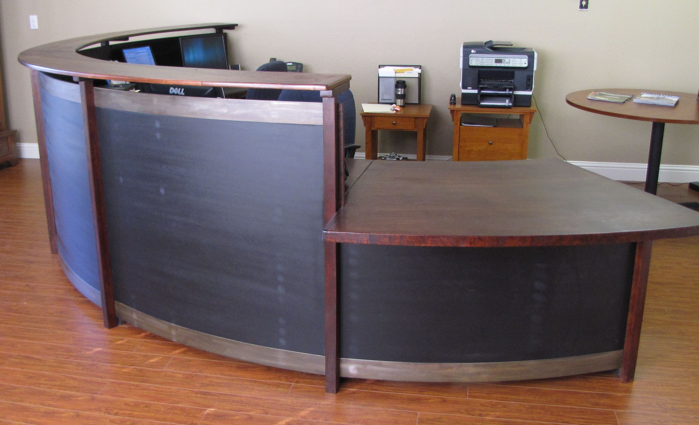 Home gt reception desks gt 8 curved maple glass top reception desk - Curved Reception Desk Cherry Steel Black Stained Wood