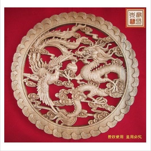 Dongyang wood carving crafts chinese style antique furniture camphor wood  wall hanging dragon and phoenix play - Dongyang Wood Carving Crafts Chinese Style Antique Furniture