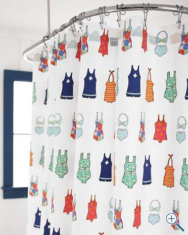 vintage swimsuit shower curtain