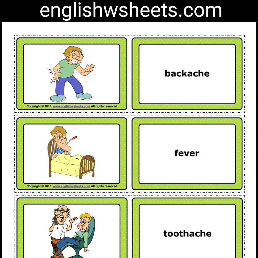 Health Problems Esl Printable Flashcards and Game Cards For Kids ...