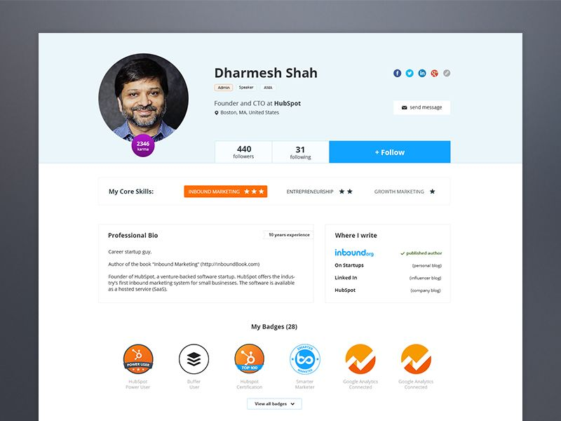 New Profile Page Mobile UI Examples
