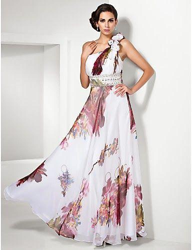 58d30a7792 Vestido de noche Gasa con Flores Sandrine