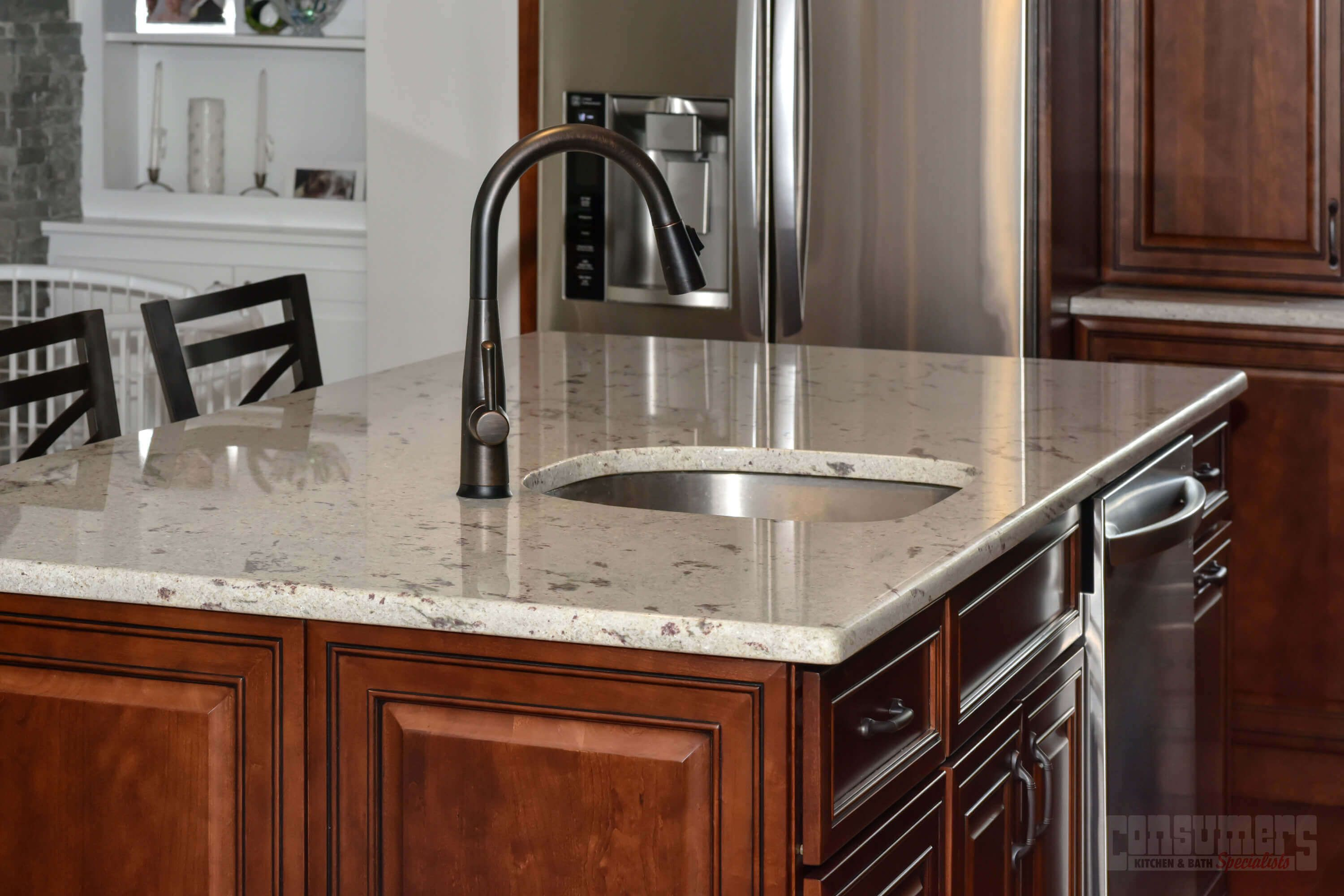 Pin By Consumers Kitchens Baths On Hauppauge Ensemble Cherry Kitchen Custom Cabinets River White Granite